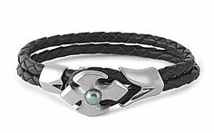 Stainless Steel Polished Men's Link Bracelet with Leather Braids - 8.5 inches AMEX Jewelry. $22.99. Length: 8.5 inches. Metal: 316L Stainless Steel