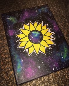 Excited to share this item from my shop: Sunflower universe Easy Canvas Art, Simple Canvas Paintings, Small Canvas Art, Mini Canvas Art, Acrylic Painting Canvas, Trippy Drawings, Psychedelic Drawings, Art Drawings Sketches, Dragon Drawings