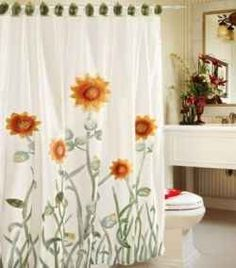 Sunflower Shower Curtains Are A Great Way To Bring Color Into Your Bathroom,  Here You