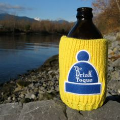 The Drink Toque - Sunshine Yellow  Classic, vintage-style, knit koozie. Iconically Canadian.
