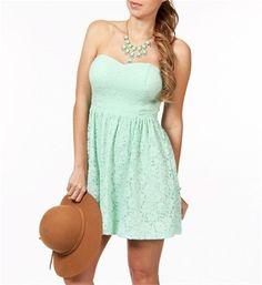 Mint Green Summer Lace Dress #mint #green #dress www.loveitsomuch.com