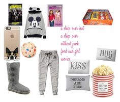 """""""Girl Sleep over"""" by jdrummo on Polyvore featuring The Hampton Popcorn Company, Abercrombie & Fitch, UGG Australia, Park B. Smith, Iscream, Casetify and Crate and Barrel"""