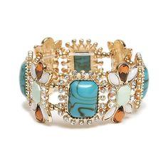 Turquoise & Tortoise Pastel Stretch Bracelet