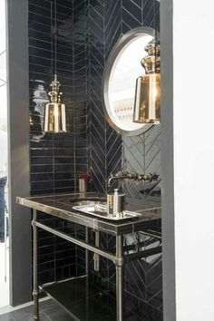 black herringbone backsplash