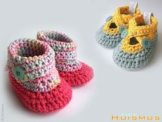 Adorable crochet baby booties by Little Huismus.