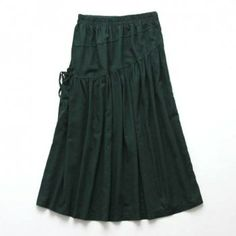 Women's Cotton Blend Solid Color Strappy Asymmetric Pleated Casual Skirt, ARMY GREEN, ONE SIZE in Skirts   DressLily.com