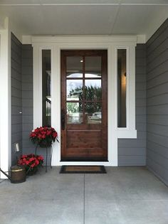 Love this front door! dovetail gray sw white dove bm exterior paint colors This will be the new color of my house! I love this combination and it will look great with my brown brick. Black door, white accents and trim. Off White Paints, White Paint Colors, Paint Colors For Home, Grey Paint, Neutral Paint, Paint Trim, Colour Gray, Trim Color, Design Exterior