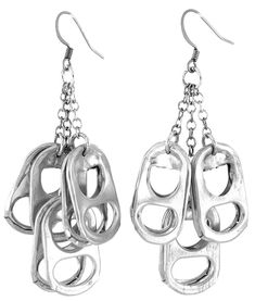 A fun and dynamic design that creates a sense of movement, these earrings are made from triple fringe plated chain with recycled pop tops with surgical steel french ear wire.