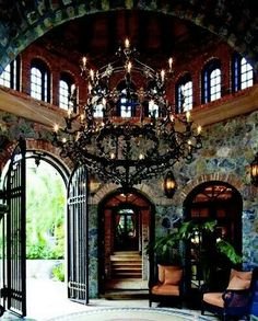 Beautiful gothic interiors with grand chandelier