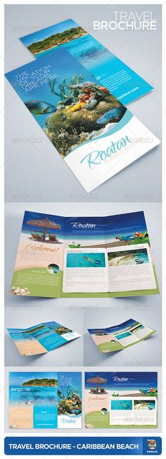 "Travel and Tourism Brochure - Caribbean Beach #GraphicRiver Travel & Tourism Brochure, ideal for hotels, travel agencies, and all accommodation / travel / tourism business. Just place your photos and edit text! 2 PSD (inside and outside) 11×8.5"" include bleeds, guidelines, trims, 0.25"" CMYK Color, 300DPI Print Ready Fonts: Myriad Pro, Gotham Family, Qwigley Phodune Stock: Snorkeling, Stunning Beach, Marine Life, Created: 5June12 GraphicsFilesIncluded: PhotoshopPSD"