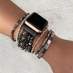 Stunning bracelet Apple Watch bands are a MUST HAVE!These are stretch like our bracelets, so they ar Apple Watch Bracelet Band, Apple Watch Bands Fashion, Cute Apple Watch Bands, Apple Band, Apple Watch Accessories, Strand Bracelet, Watch Brands, Fashion Watches, Mvmt Watches