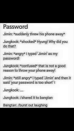 Jimin's password's too short...