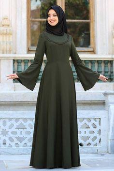 Dresses - Khaki Hijab Dress - Wedding World Abaya Fashion, Muslim Fashion, Fashion Dresses, Dresses Dresses, Hijab Style Dress, Modele Hijab, Mode Abaya, Stitching Dresses, Muslim Dress