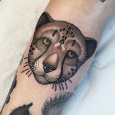 Thanks Katie for getting this cheetah head today! Cheetah Tattoo, Big Cat Tattoo, I Tattoo, Head Tattoos, Life Tattoos, Cool Tattoos, Tatoos, Mink Animal, Jaguar Tattoo