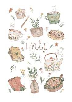 A collection of things that gives hygge. A collection of things that gives hygge. Art And Illustration, Posca Art, Cute Stickers, Free Printable Stickers, Cute Drawings, Doodle Art, Cute Art, Art Inspo, Watercolor Art