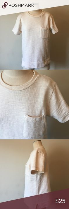 """J. Crew-Cream Short Sleeve Textured Sweat Tee SZ M J. Crew-Cream Short Sleeve Textured Sweat Tee SZ M. Excellent condition. Feeling of the shirt is like a cross between a sweater and a sweatshirt. Boxy fit. Pocket detail in the front. Measures 25"""" from shoulder to bottom. Measures 20.5"""" from armpit to armpit when laid flat. J. Crew Tops Sweatshirts & Hoodies"""