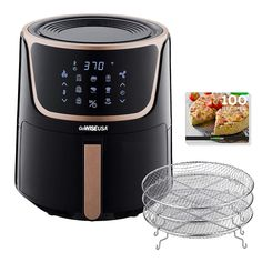 GoWISE USA 7 Quart Electric Air Fryer with Dehydrator & 3 Stackable Racks, Led Digital Touchscreen with 8 Functions + Recipes, Qt, Black/Silver - Air Fryer Recipes Gowise Air Fryer Reviews, Hot Air Popcorn Popper, Bulthaup Kitchen, Air Fryer Recipes Snacks, Large Air Fryer, Electric Air Fryer, New Kitchen Gadgets, Best Air Fryers, Boffi