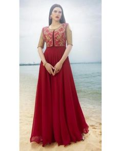 Red Georgette Gown