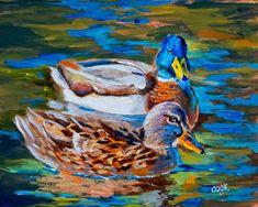 Bird Painting Acrylic, Acrylic Painting Lessons, Acrylic Painting Tutorials, Acrylic Paintings, The Art Sherpa, Duck Art, Diy Canvas Art, Animal Paintings, Bird Art