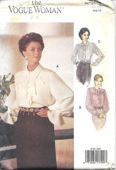 Vogue 8759 Vogue Woman Blouse Pattern, Collar Variations, Size 6-10, UNCUT by DawnsDesignBoutique on Etsy