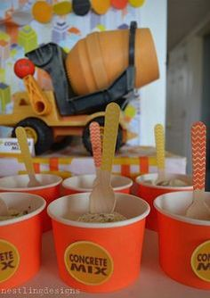 Poured cement ice cream for Truck Birthday Party Theme #constructionbirthday #truckbirthday #boybirthdayideas
