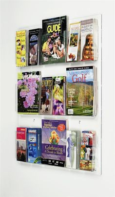 3-Tiered Acrylic Literature Rack for Wall, 18 Adjustable Pockets - Clear