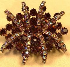 "Vintage Smoky Topaz and Aurora Borealis ""Eye/Spider"" Style Brooch #Unbranded"
