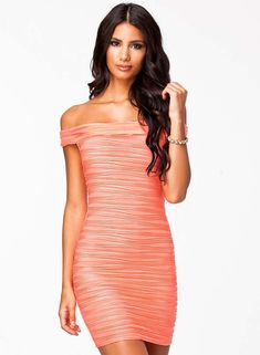 822e7558a96 Get the baby doll look with this stunning pink off-shoulder dress