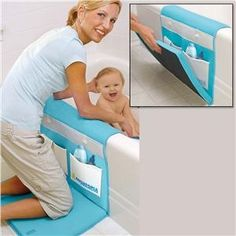 Bath organizer with padding for knees and elbows...Make your own. Okay this is just genius.