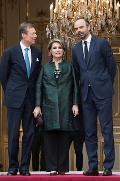 Grand-Duke Henri and Grand-Duchess Maria Teresa met with French Prime Minister Edouard Philippe at the Hotel de Matignon on March 20, 2018 during their three day state visit. Photo by Stephane...