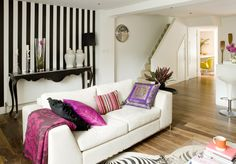 Black And White Accent Wall Striking Striped Wallpaper Feature Bold