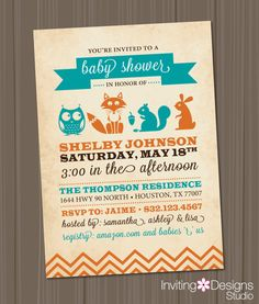 Woodland Baby Shower Invitation, Owl, Fox, Rabbit, Animals, Girl, Boy, Neutral, Teal, Blue, Orange, Winter, Chevron (PRINTABLE FILE)