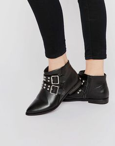 1f88b8c85efe Image 1 of London Rebel Stud Strap Point Ankle Boots Pointed Ankle Boots