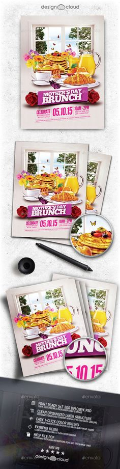 Mother's Day Brunch Flyer Template — Photoshop PSD #design-cloud #buffet • Available here → https://graphicriver.net/item/mothers-day-brunch-flyer-template/11101222?ref=pxcr