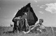 Ingmar Bergman and Liv Ullmann photographed by Gunnar Källström near their home in Fårö on July 14, 1968, Ingmar's 50th birthday