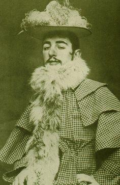 Toulouse-Lautrec, dressed in Jane Avril's clothes to attend the 'Women's ball' (bal des femmes) held by the Courrier français at the Elysée-Montmartre, BJ March BIJC, 1892