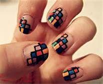 Geometric square nails.