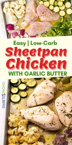 Healthy Sheet Pan Chicken Recipe - Getting a healthy and tasty dinner on the table has never been easier! This low-carb sheet pan chicken dinner is full of flavour and ready in just 45 minutes. Low-carb and good for you too! #chickenrecipes #easychickenrecipes #healthychickenrecipes #chickenbreastrecipes #lowcarbrecipes #sheetpanchickenrecipes #diabeticrecipes #healthydinner #diabetesstrong Easy Low Carb Lunches, Healthy Low Carb Dinners, Low Carb Dinner Recipes, Lunch Recipes, Easy Family Meals, Family Recipes, Healthy Chicken Recipes, Diabetic Recipes, Sheet Pan