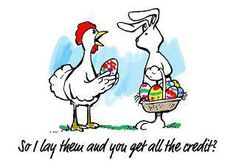 The Easter Bunny & his Easter Eggs Happy Easter, Easter Bunny, Easter Eggs, Easter Jokes, Chicken Humor, Chicken Signs, Holiday Fun, Funny Pictures, Easter Pictures