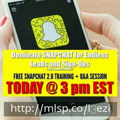 Tuesday Top Earner Hangout   FREE SNAPCHAT 2.0 TRAINING + Q&A SESSION:  Come Hangout LIVE!! http://mlsp.co/l3ezi  Get a Complete Walkthrough So YOU Can Dominate This Powerful APP for Endless Leads and Sign-Ups (100% Newbie Friendly!) #MarioMFinkbiner #MarioFinkbiner #MMFDreamYourDreams #MMFDreamworksInc #90DayHealthandWealthCreation #GetHealthyandWealthywithMario