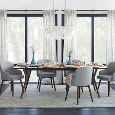 i want this vibe in my dining room- saddle chairs and parker table from west elm