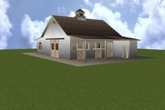 3 Stall Horse Barn Plan with ground Apartment