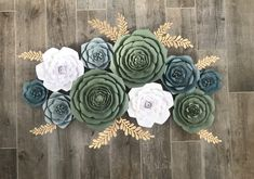 Excited to share the latest addition to my shop: Ready to Ship: set of 10 paper flowers in shades of green, blue and white. Succulents and roses How To Make Paper Flowers, Large Paper Flowers, Paper Flower Wall, Shade Flowers, Blush Flowers, Green Paper, Pink Paper, Flower Nursery, Specialty Paper