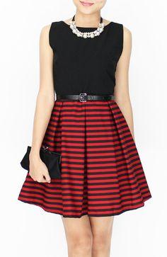 Crimson Flare Prom Dress with Stripe Skirt