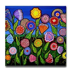 Colorful Fun Flowers Folk Art Ceramic Tile by reniebritenbucher