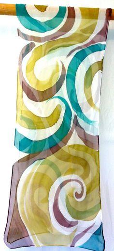Seidentuch 100x100 cm aus 100/% Seide grüne Töne wie Bemalt