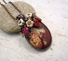 Wire Wrapped Pendant Necklace, Brecciated Jasper Pendant, Romantic Gifts, Czech Glass Flowers, Vintage Jewelry, 7th Anniversary Gift for Her by FearlessCreationsbyJ on Etsy