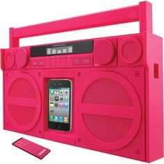 iHomeTechnology IP4GZC Portable FM Stereo Boombox for iPhone/iPod, Pink