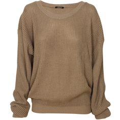 Mocha Plain Chunky Knit Oversized Fisherman Jumper ($23) ❤ liked on Polyvore featuring tops, sweaters, shirts, jumper, long sleeves, brown tops, brown sweater, brown shirt, chunky knit sweater and oversized long sleeve shirt