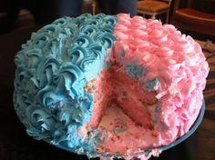 Adorable gender reveal cake